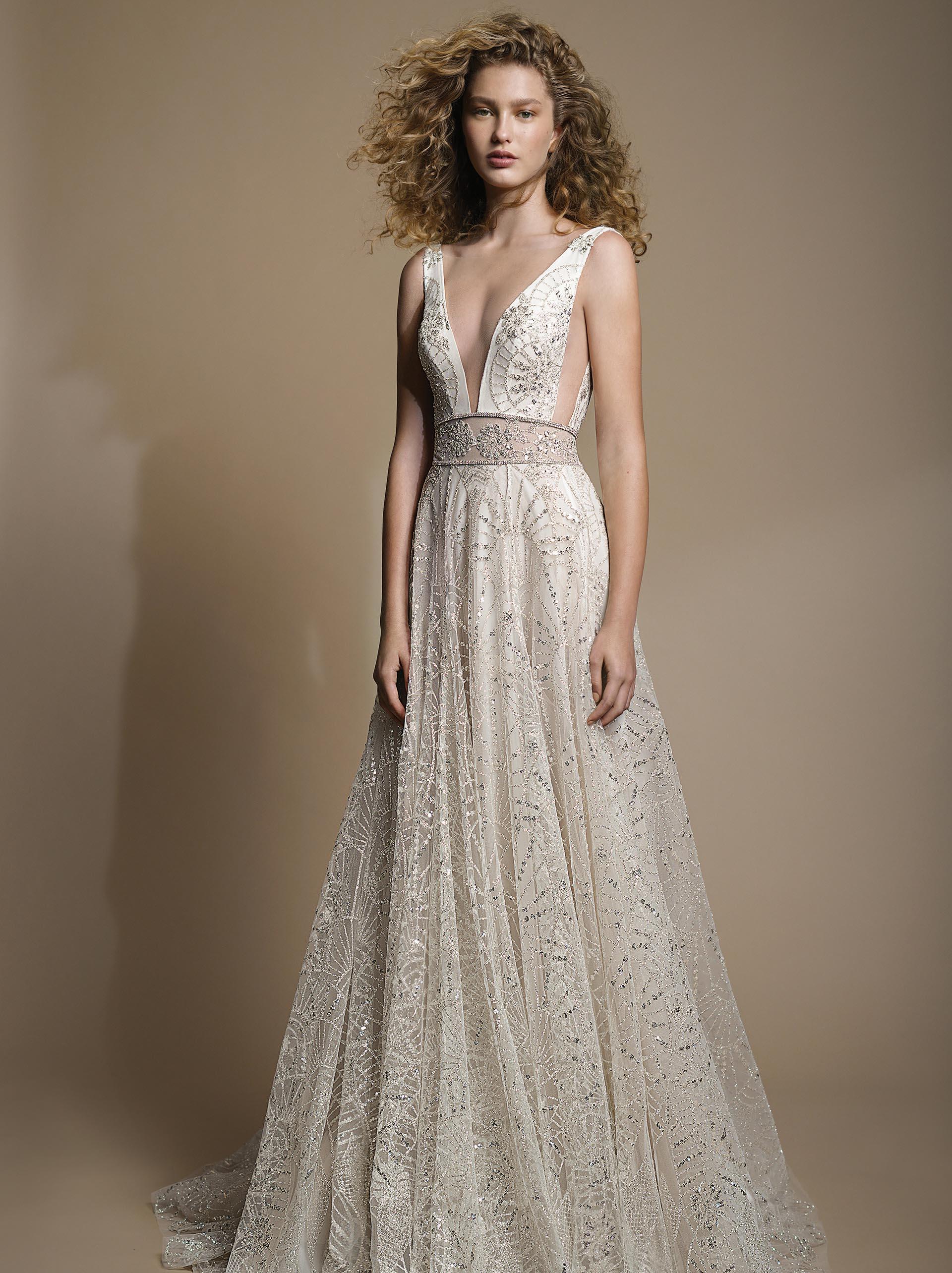 GALA G - 102 Galia Lahav Beaded V- neck A-line wedding dress Tampa bridal shop