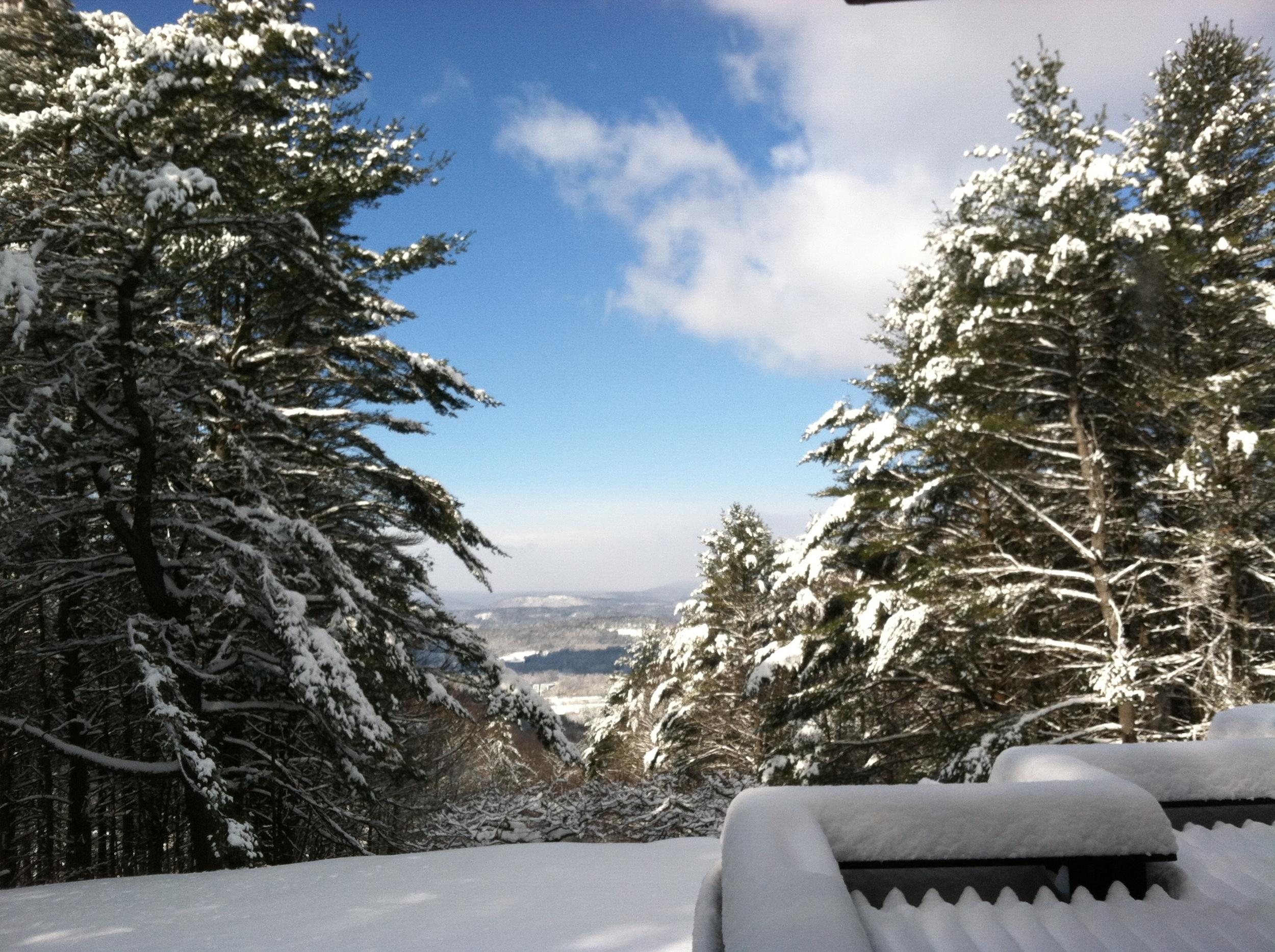 snowfall overlooking Vermont