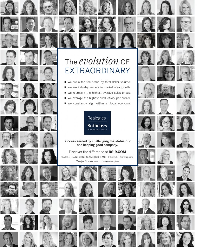 PICTURED ABOVE: RSIR showcased more than 100 brokers and members of the broker care and marketing team in a full page ad within The Puget Sound Business Journal.
