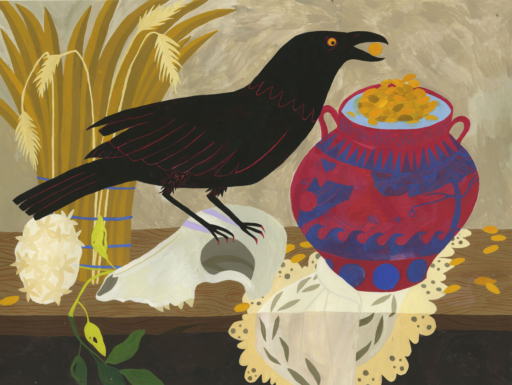 """The Crow and the Pitcher , 18""""x 24"""" gouache on paper"""