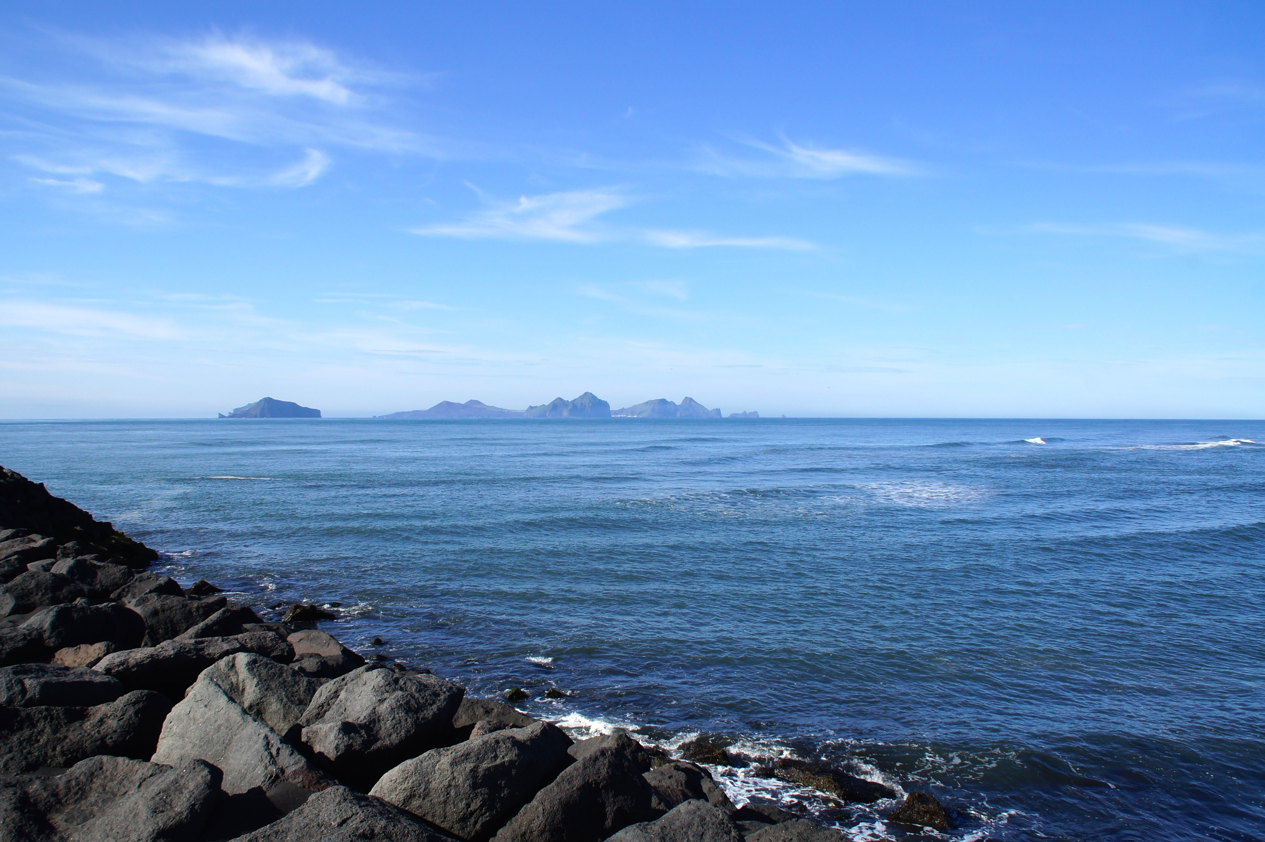 Vestmannaeyjar as seen from the shore before boarding the ferry.