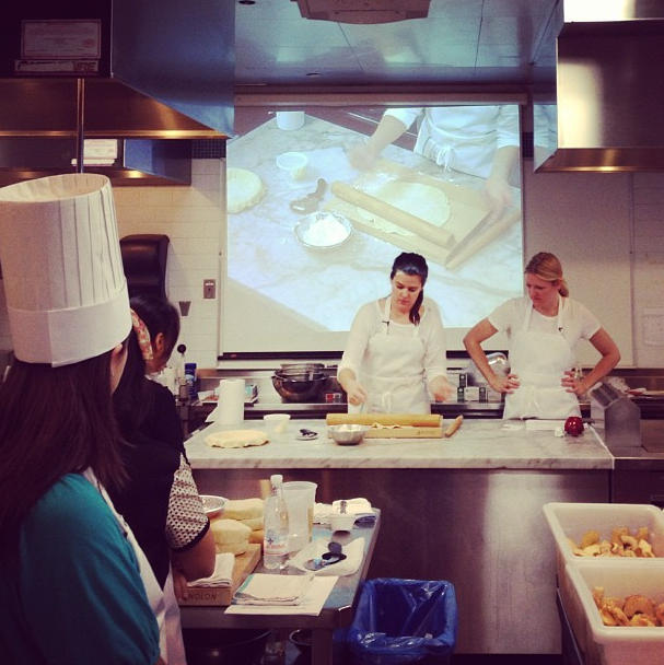 "The sisters teaching a ""Pie Making Master Class"" at International Culinary Center, NYC."