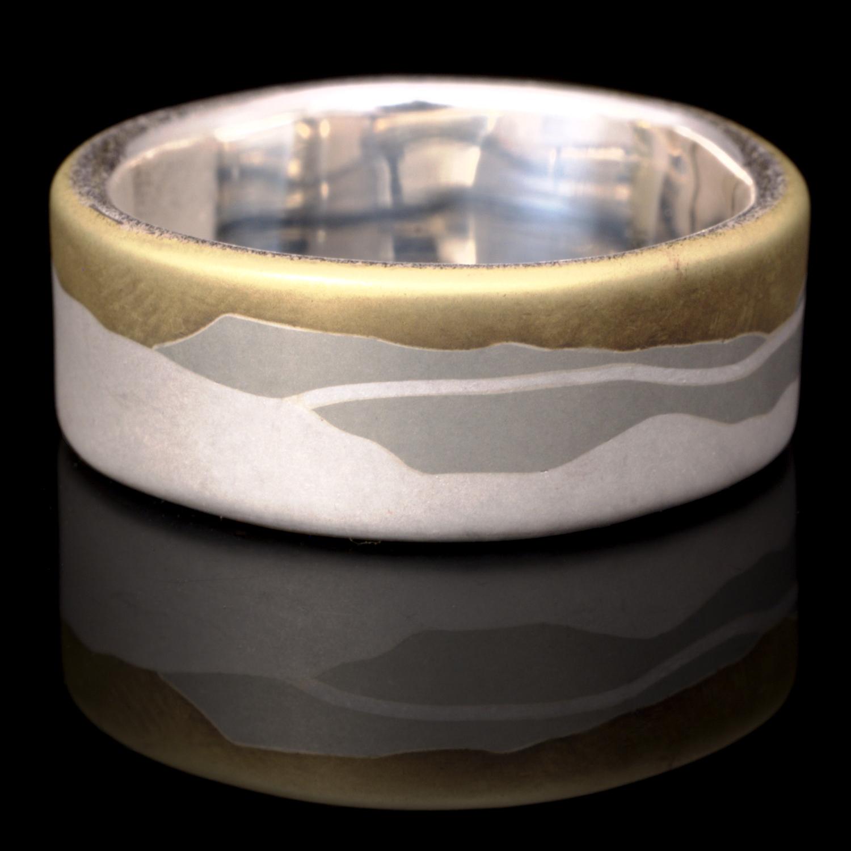 El Ruis - Brass Nickel and Silver Peaks Wedding Ring