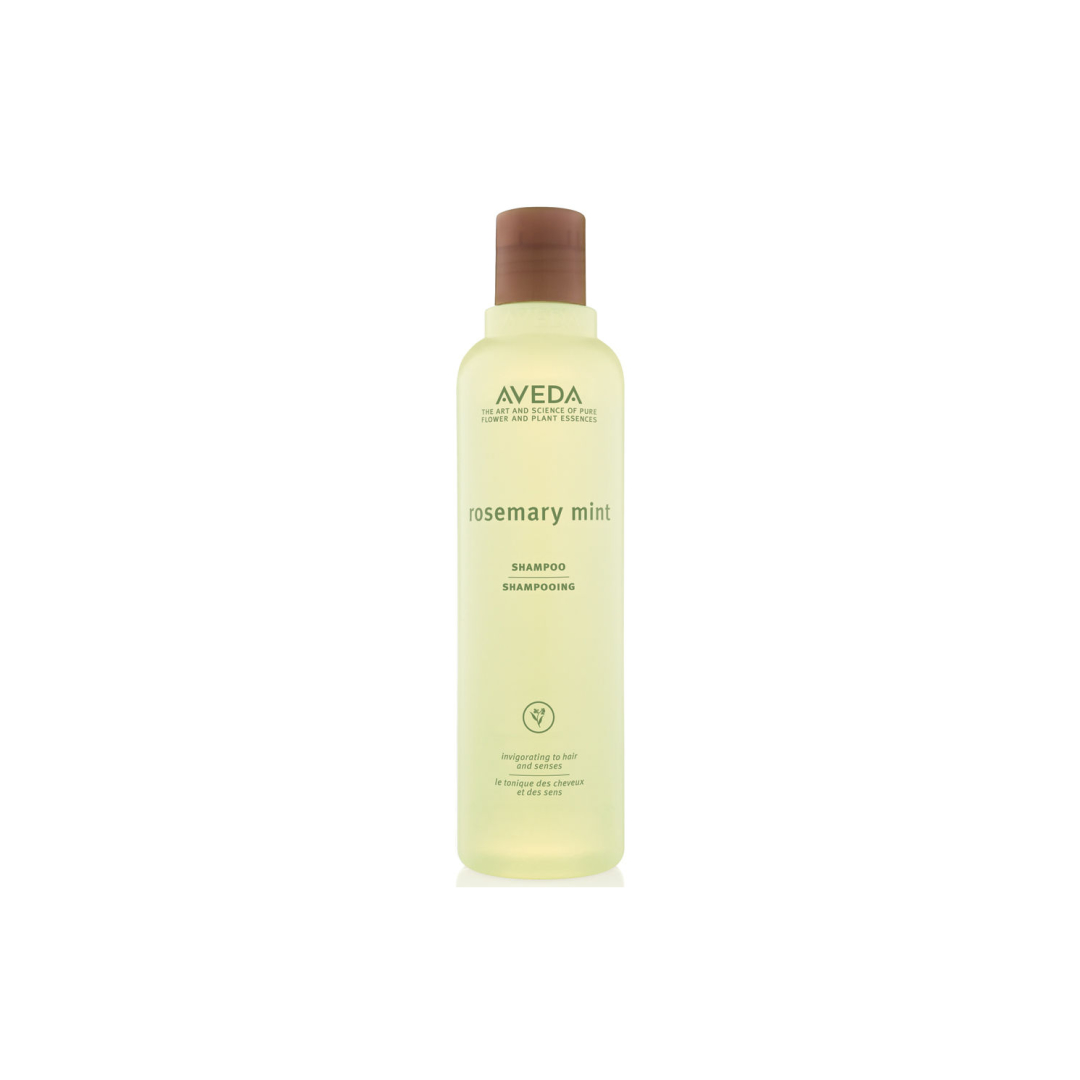 Aveda Rosemary Mint Shampoo $ (250ml)   Purifying shampoo gently clarifies hair, leaving it feeling squeaky clean, reset and shiny.  Aveda's own invigorating pure-fume ™ aroma with rosemary, peppermint and spearmint!   (purchase in store only)