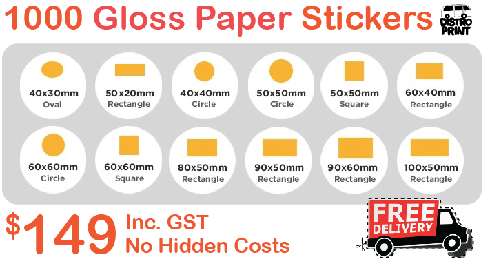 1000 gloss paper stickers $149