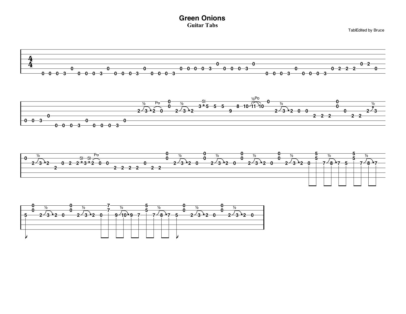 Green Onions Guitar Tabs