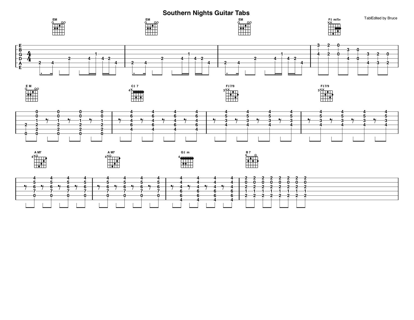 Southern Nights Guitar Tabs