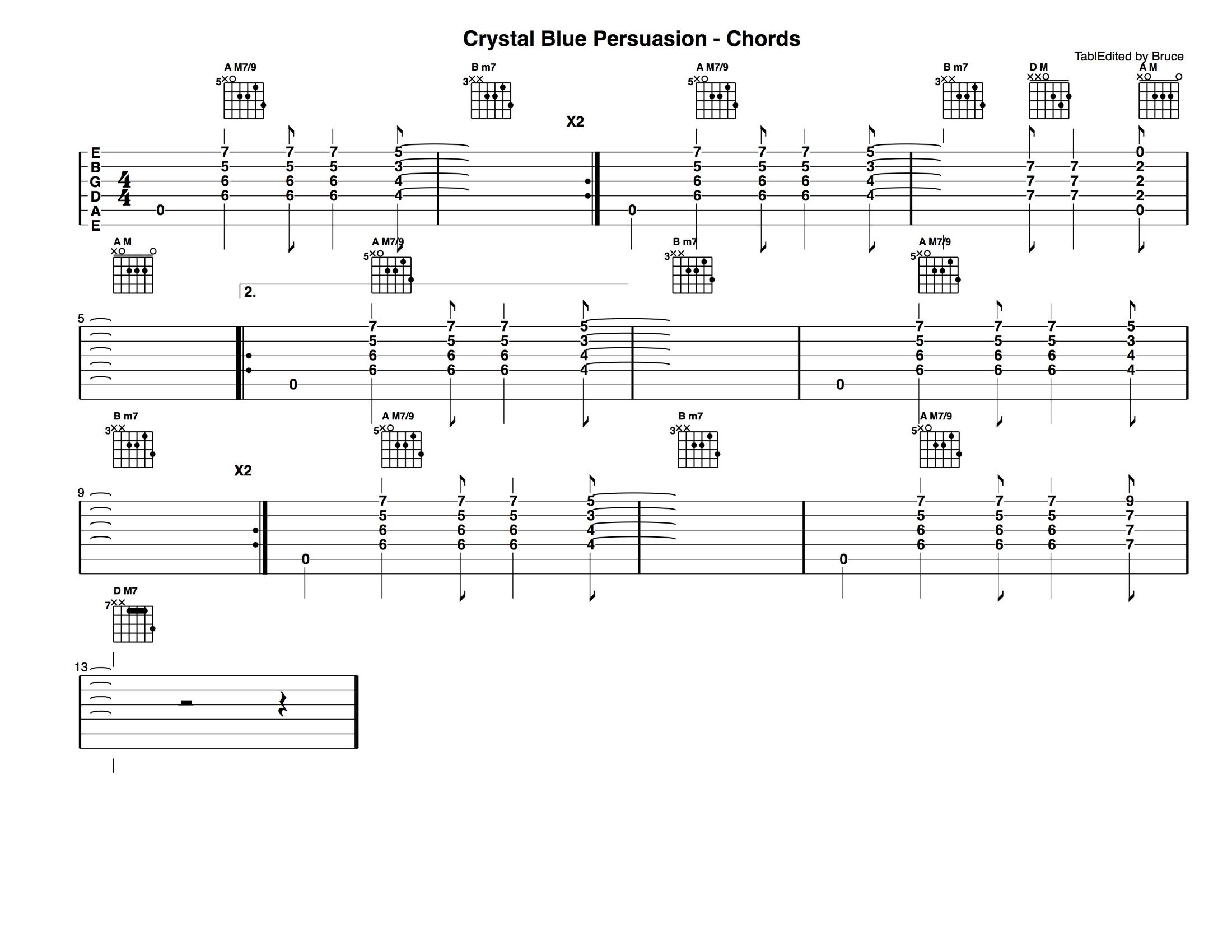 Crystal Blue Persuasion - Chords