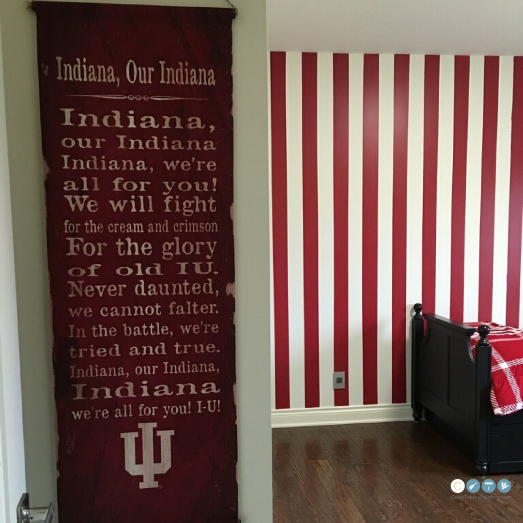 Smells like Team Spirit - Good ol' IU. We put up these candy stripes in the game day room of this youngster.