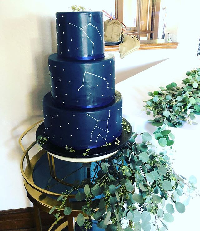 Our wedding cake for Anastasia and Robert tastes as good as it looks: blue constellation with red velvet and cream cheese layers. The design features the signs of the bride and groom and the constellation above of the day they met! Sweet treat telling a sweet story. Yummm! ... ... ... #lawedding #hollywoodwedding #constellationcake #redvelvetcake #weddingcake #weddingcakelosangeles #losangelescaterer #cateringlosangeles #cateringinlosangeles #bake #blueicing #eucaluptus #wedding #weddingplanner #weddinggoals #weddings #cakedecorating #cake #cakes #cakestyling #foodphotography #camelliacatering #wattlesmansion #hollywoodweddings #summerwedding