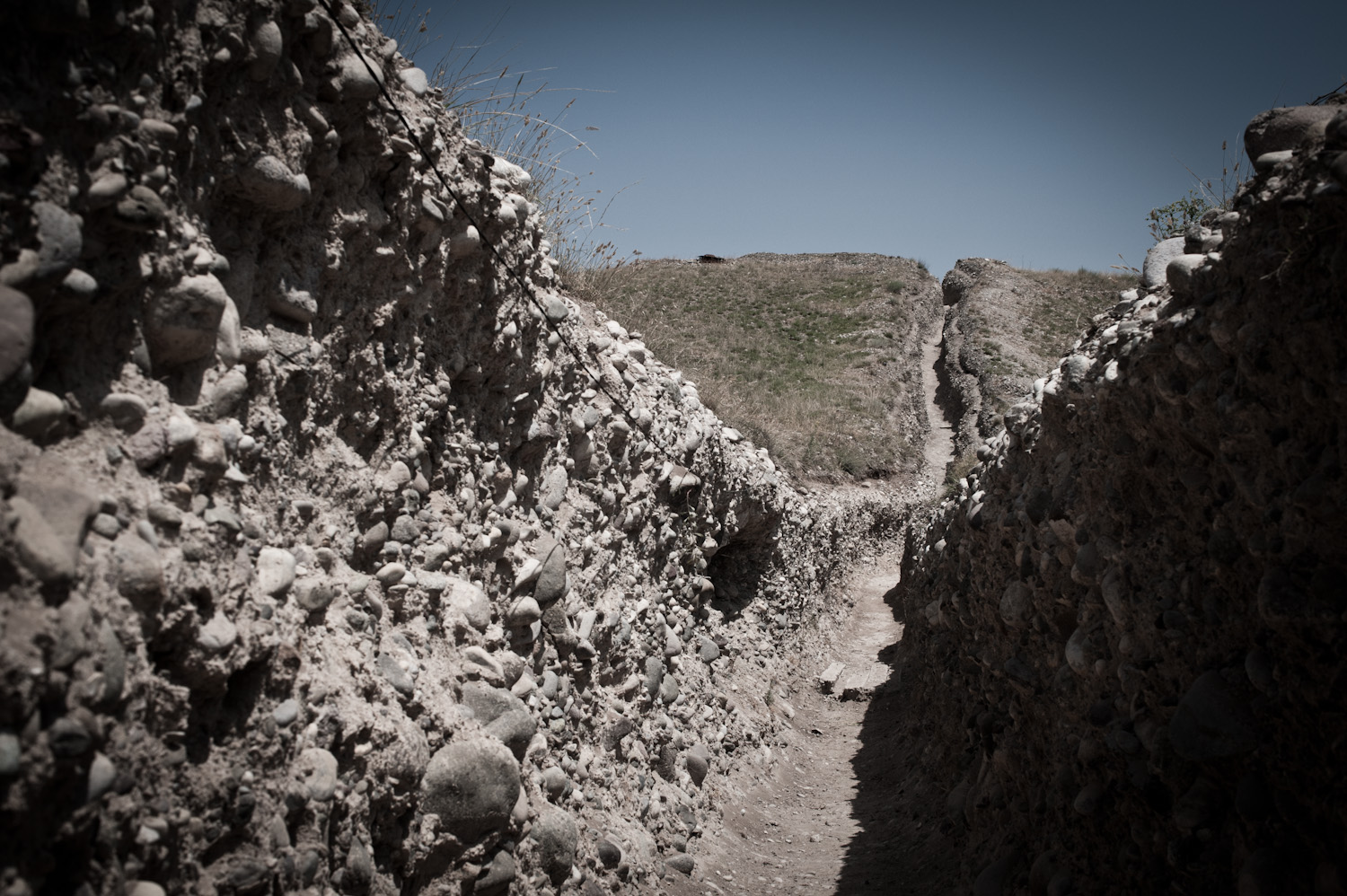 "Trenches at the Mataghis frontline. During the Karabakh war (1988-94) this area was nicknamed ""whore's fishnet stockings"" referencing the multitude of holes caused by heavy shelling."