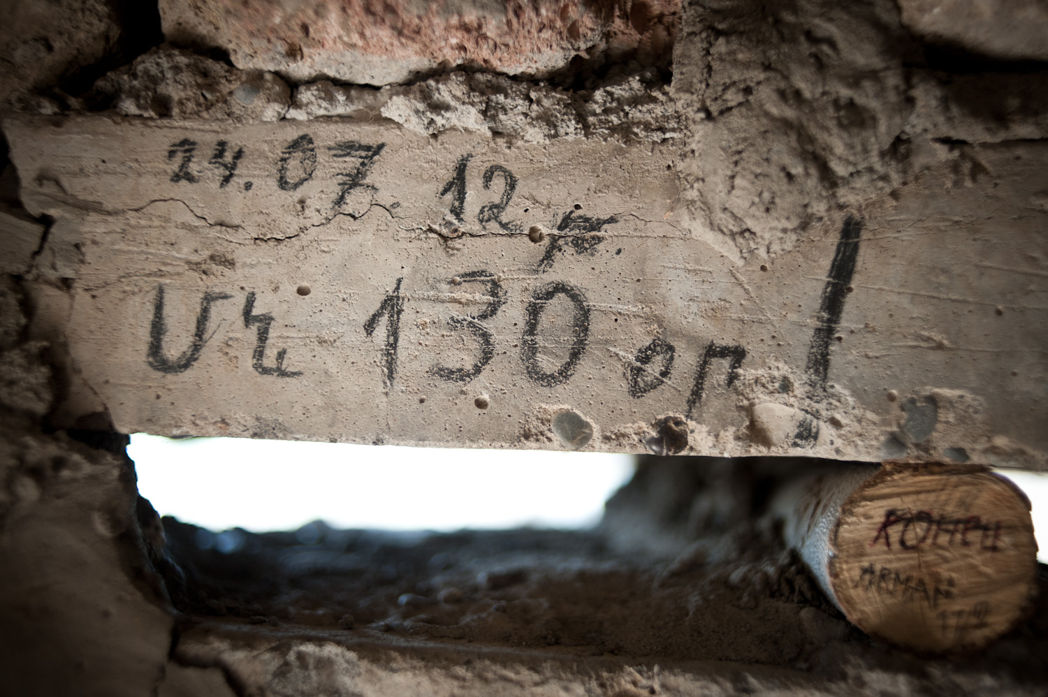 """130 days left"" scribbled on the wall on the inside of a lookout point at the border with Iran, Southern Nagorno-Karabakh."