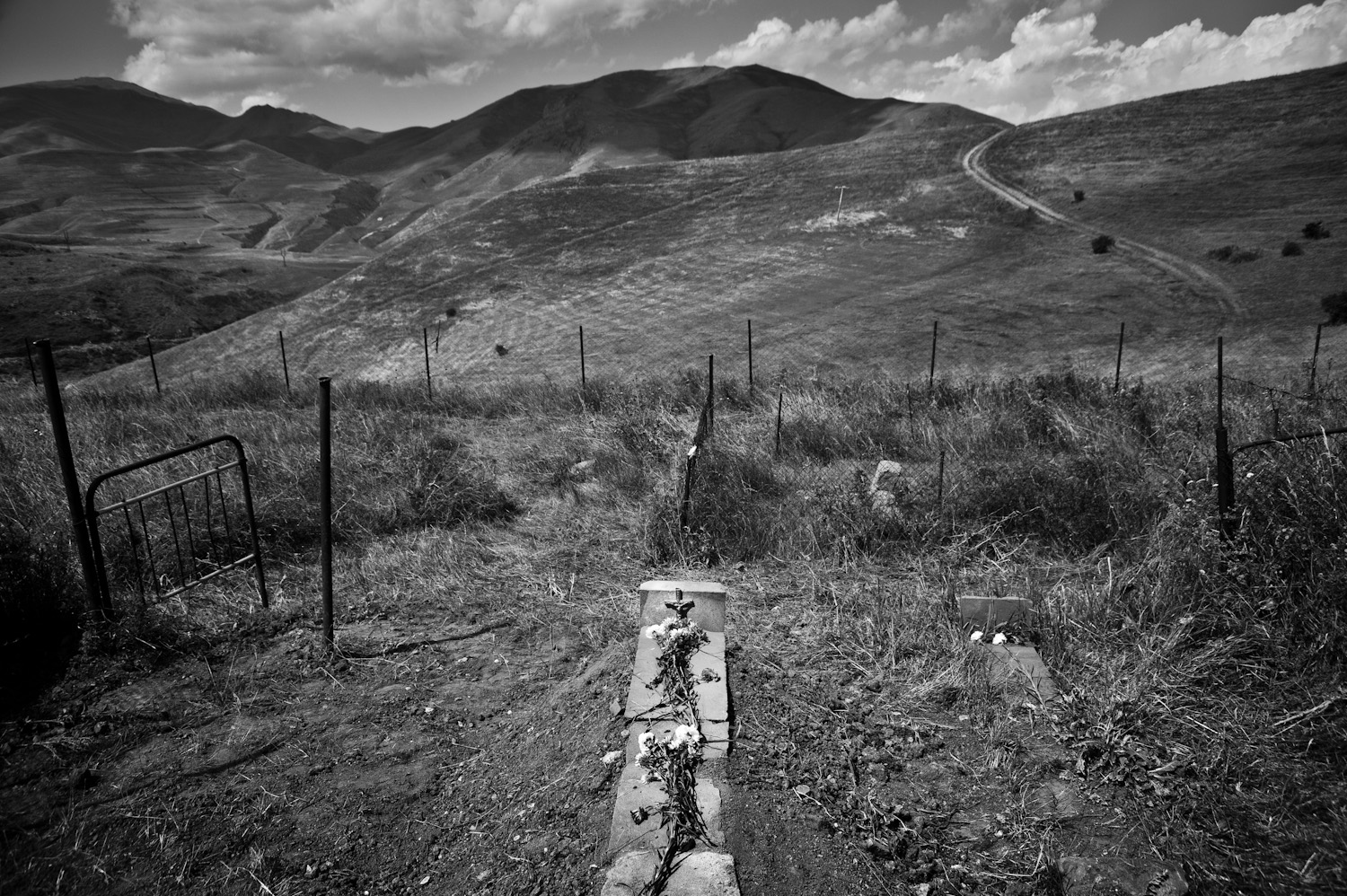 Vladimir Gabrielyan's final resting place in the hills above Dastakert - he was 75 when he passed. He and his wife Rayisa, refugees from Baku, moved to Dastakert during the Karabakh war. The couple had no children.