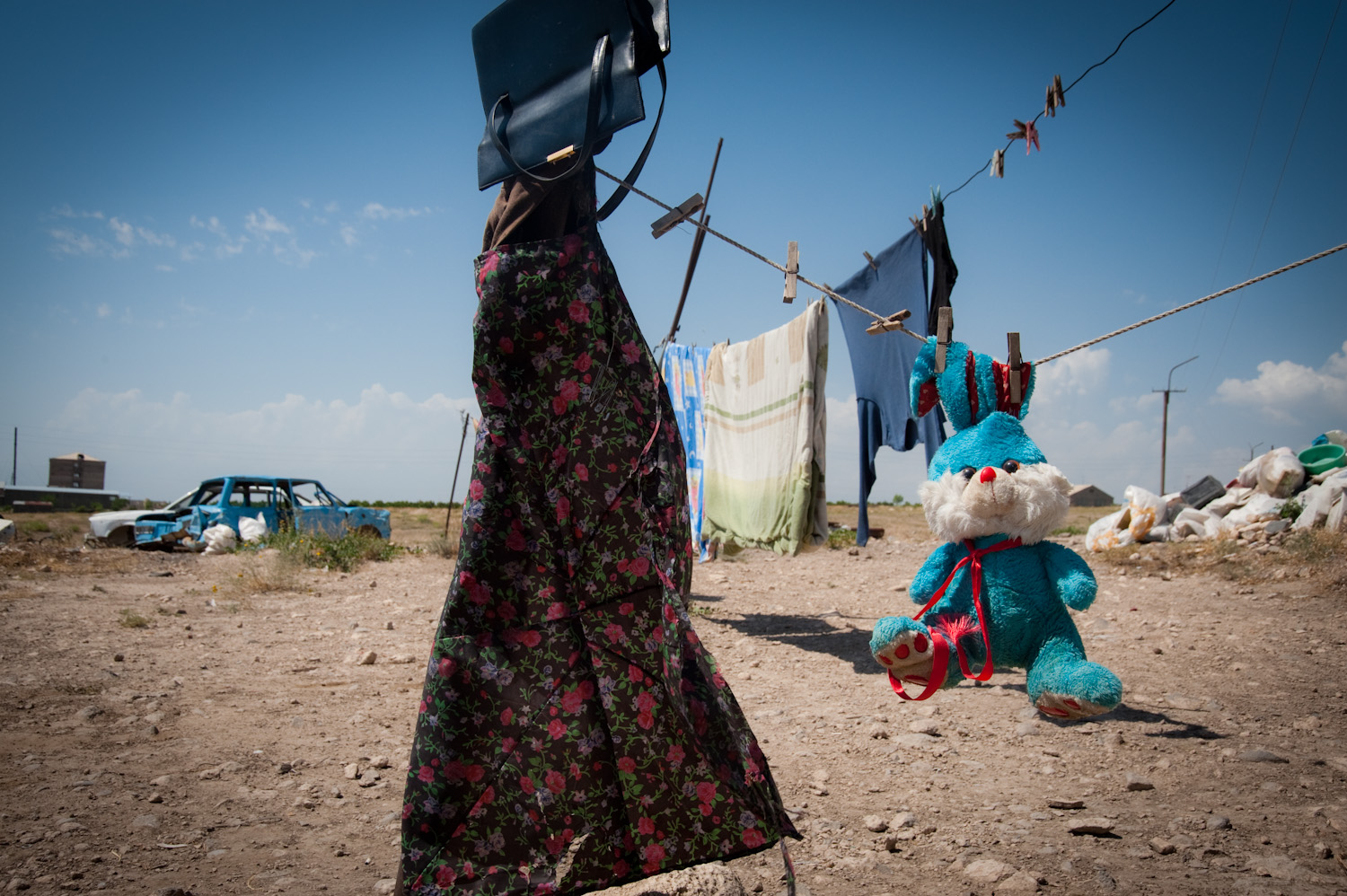 """Ruzana and her 4 children live in a shack located in an open field close to the border with Turkey with a view of Mount Ararat. """"We live in the middle of nowhere. If we scream, will anyone hear our voice?"""" She asked."""