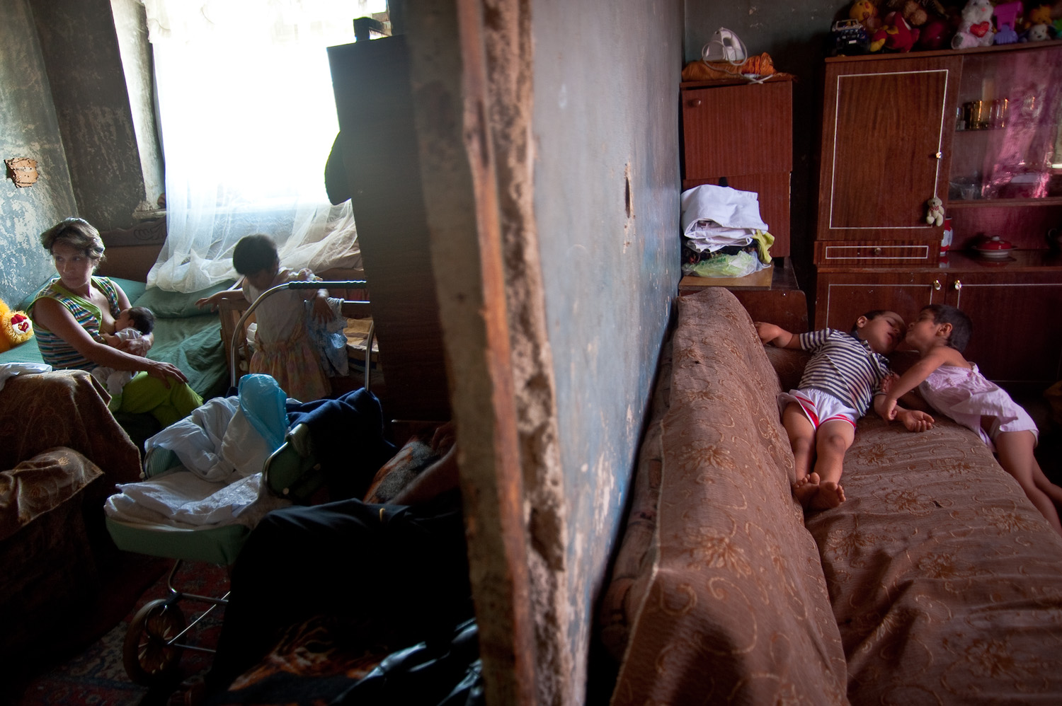 Arthur, Gayane and their 8 children live in this two-room dormitory space in Vartashen. They had 10 children but two died as children - one from a severe case of dysentery and the other from a tragic accident when at home alone.