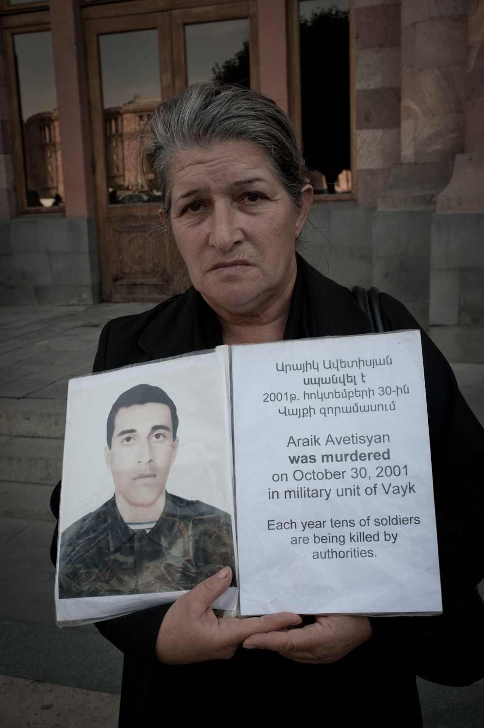 Anahit Avedisyan's son Araik was killed in 2001 - shot point blank in the head. The Avedisyan family believes that Araik's battalion commander while drunk, shot Araik for paying him only half of the $100 he had demanded for allowing Araik to take leave to visit his family.