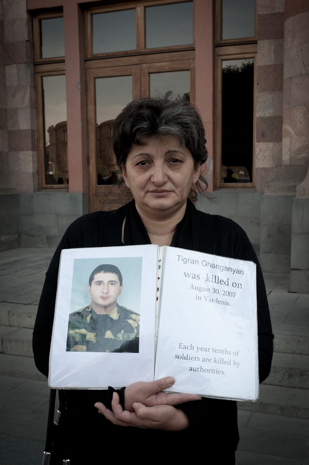 Gohar Ohanjayan's son Tigran died in 2007 while serving. During his last three months of service he complained that the commanders would hit him. The military says Tigran ran into a live wire and was electrocuted. The Ohanjanyan family believes their son was killed.
