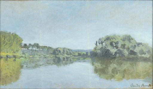 The painting's frame provides the title (  Bords de la Seine à Argenteuil)    and a date ( 1875). Also note the signature.
