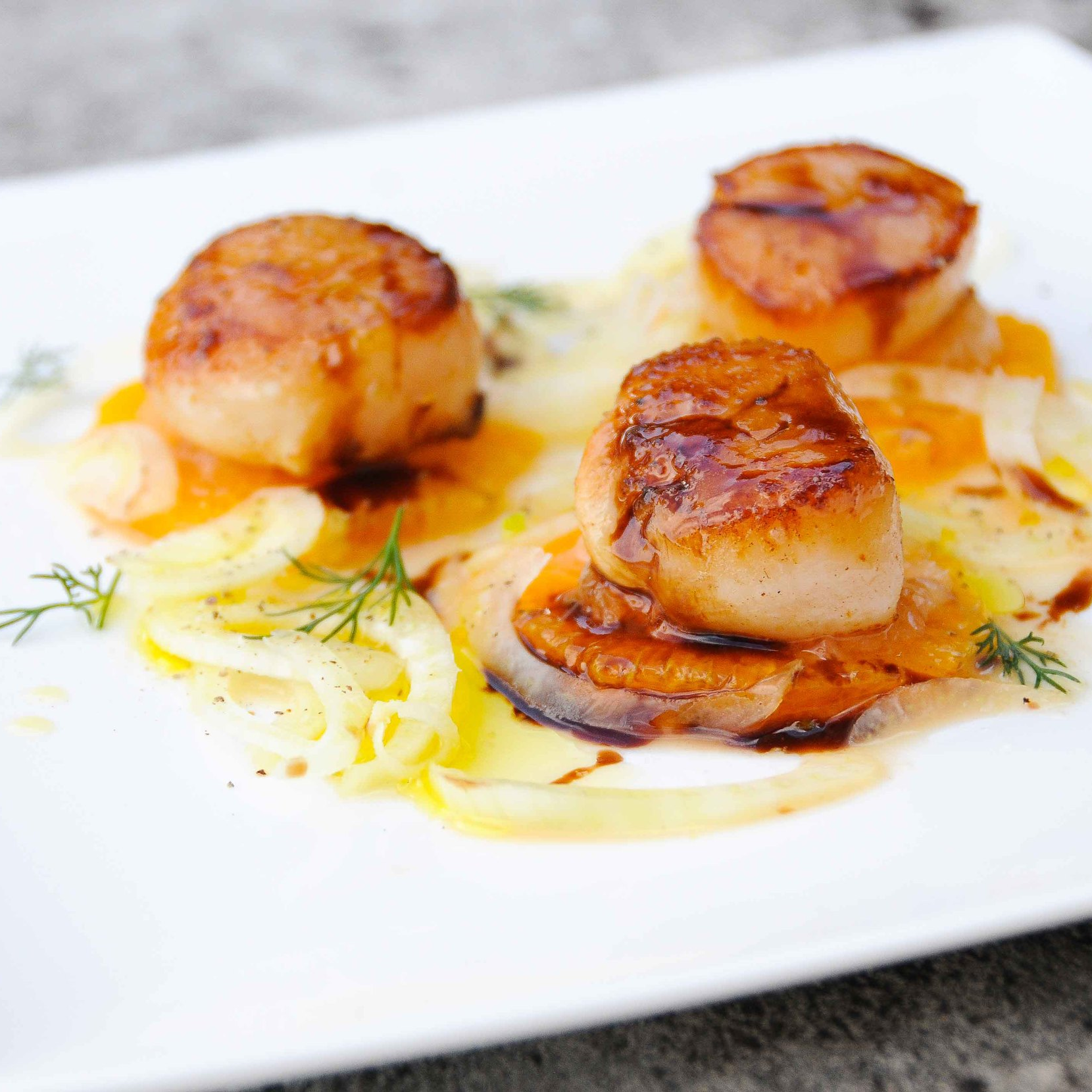 Scallops, Balsamic, Orange, Fennel