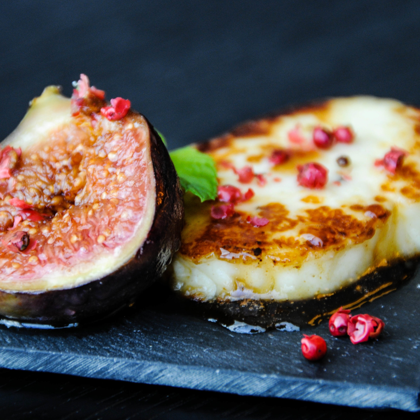 Halloumi with Honey Grilled Figs & Pink Peppercorns