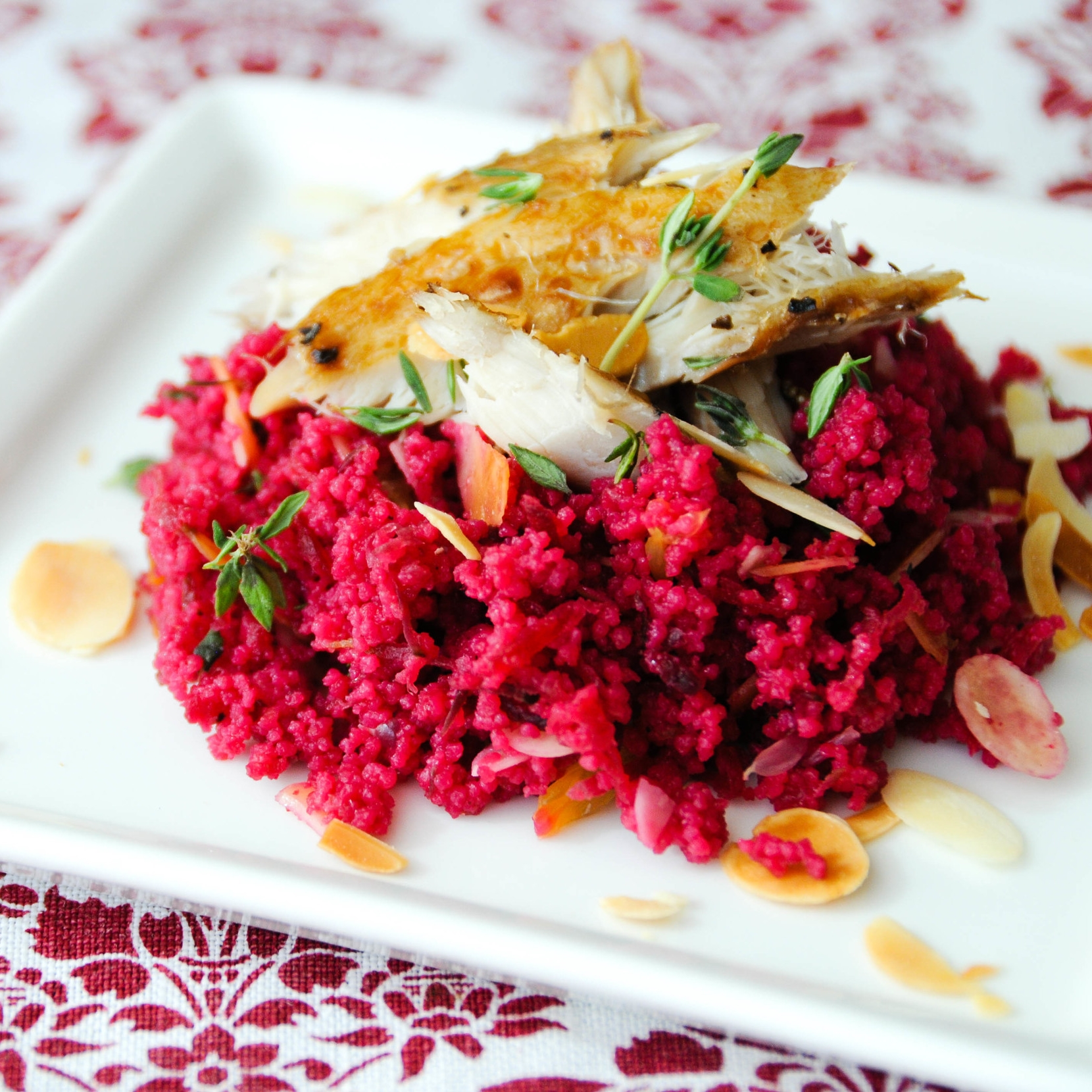 Smoked Peppered Mackerel on Beetroot Couscous