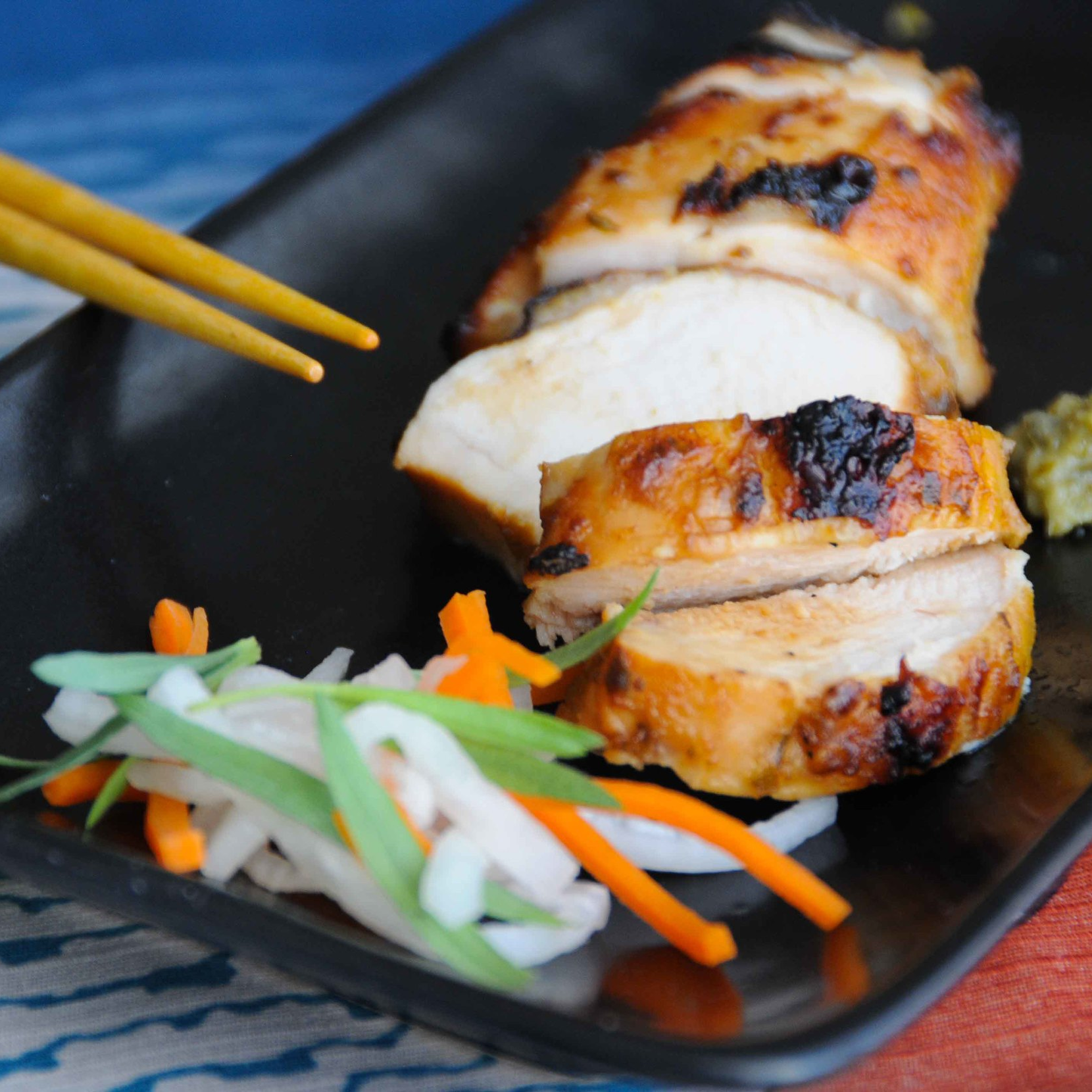 Chicken with a Miso Ponzu Marinade & Namasu Salad