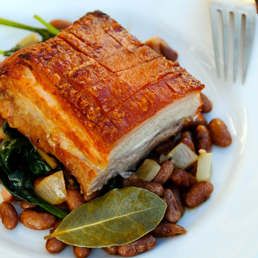 Crispy Pork Belly with Pedro Ximenez Pinto Beans