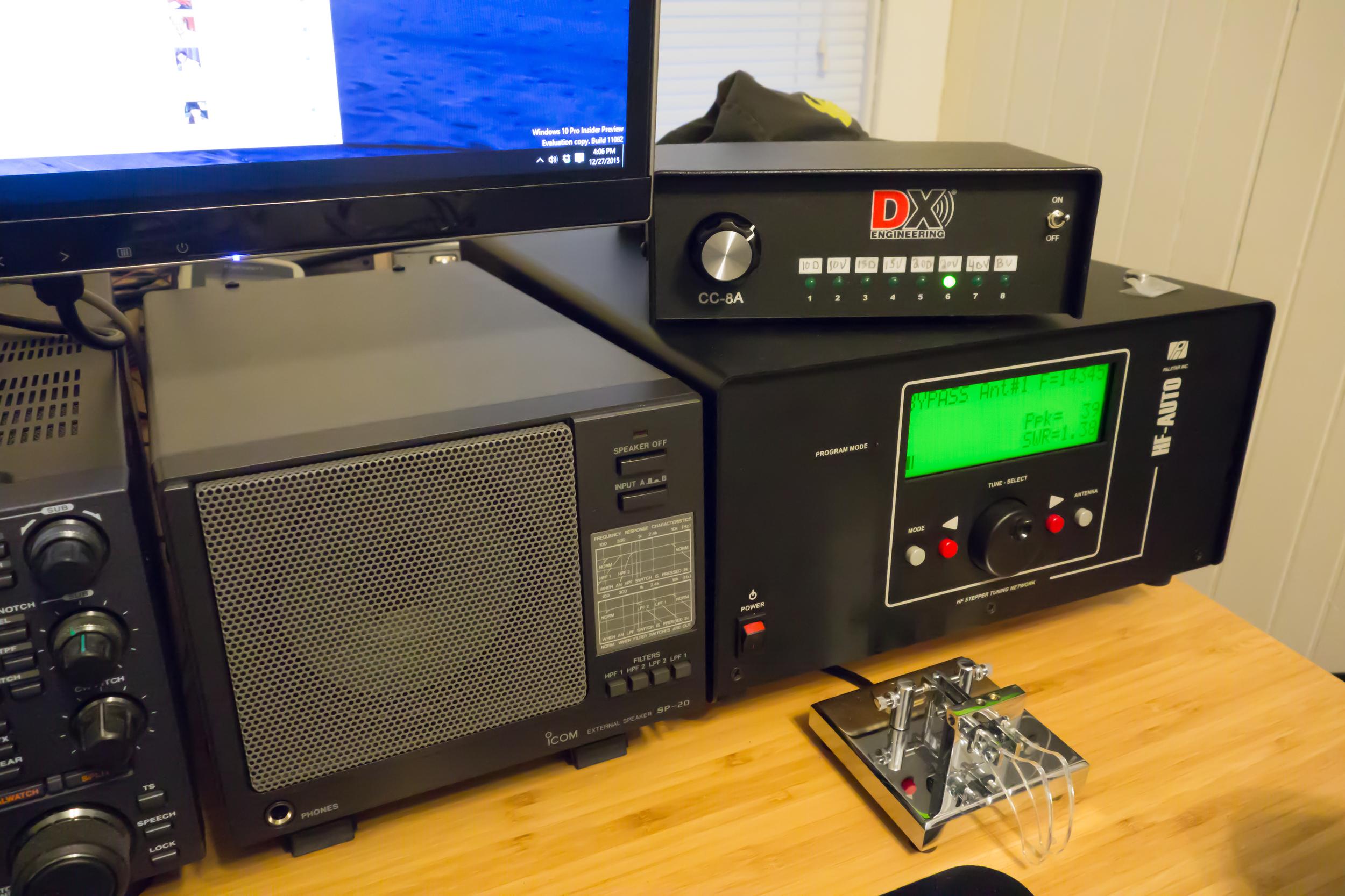 Icom SP-20,Palstar HF-AUTO, CT-73 key.