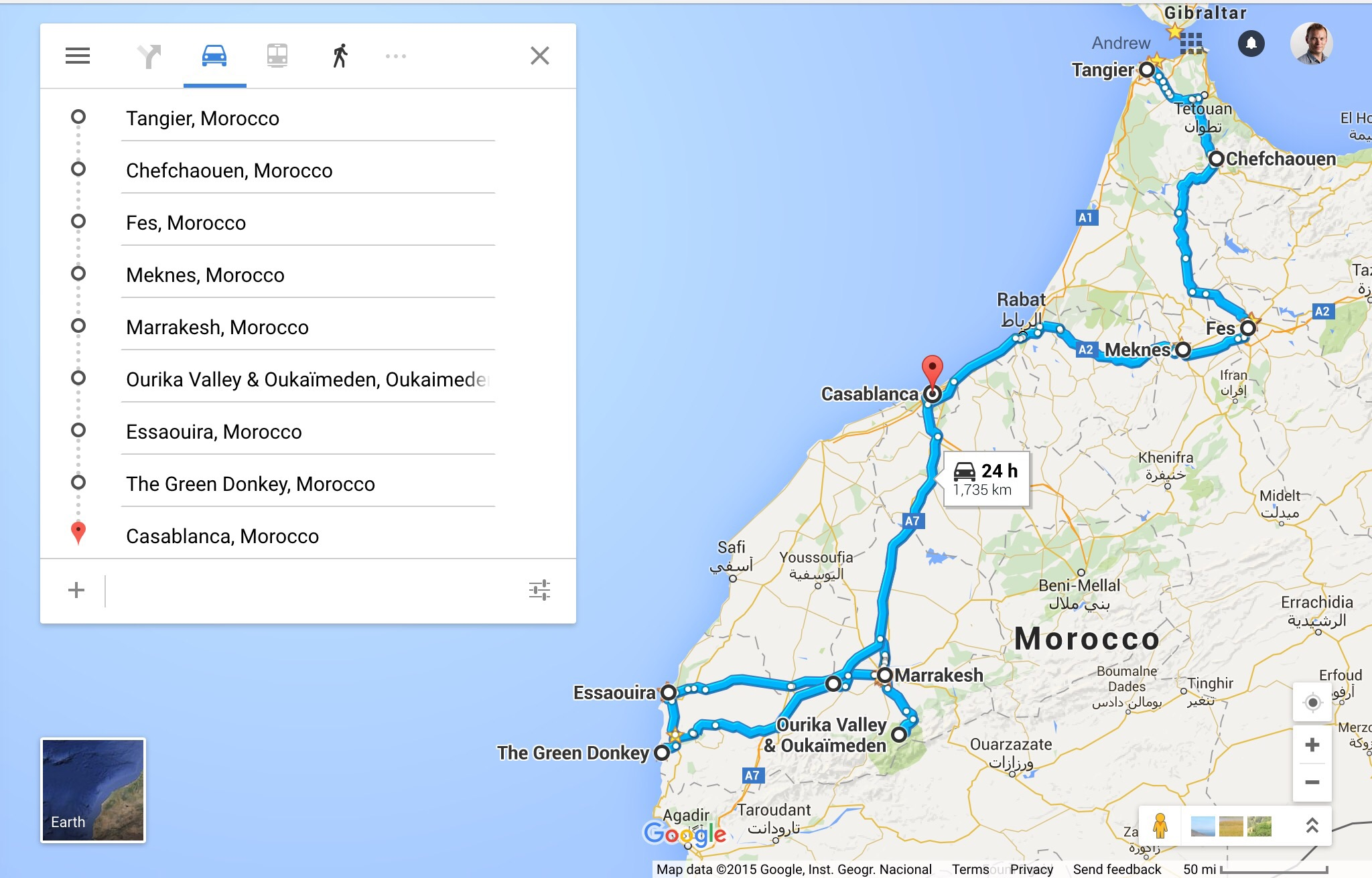 Our itinerary: Tangier > Chefchaouen > Fes > Marrakech > Essaouira > L'Ane Vert hostel (The Green Donkey) > Casablanca. We took a daytrip from Fes to Meknes, and from Marrekech to the Ourika valley and High Atlas Mountains. This map displays driving directions, though we leveraged cars, taxis, buses, and trains.