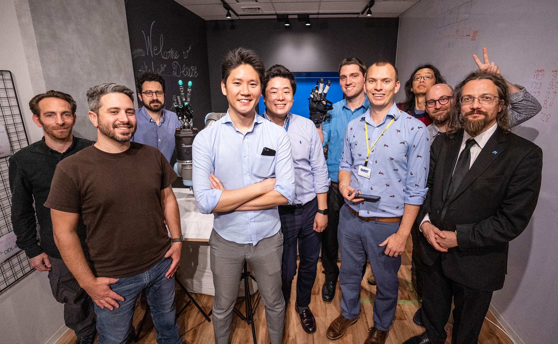Representatives from HaptX, Syntouch, Shadow Robot Company, and ANA gathered in Tokyo in January 2019.
