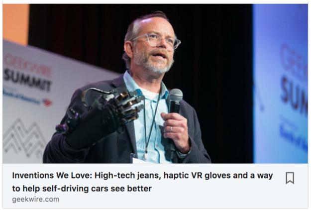 HaptX co-founder Dr. Bob Crockett presenting at the GeekWire Summit in Seattle to support the launch of the HaptX Gloves Development Kit.