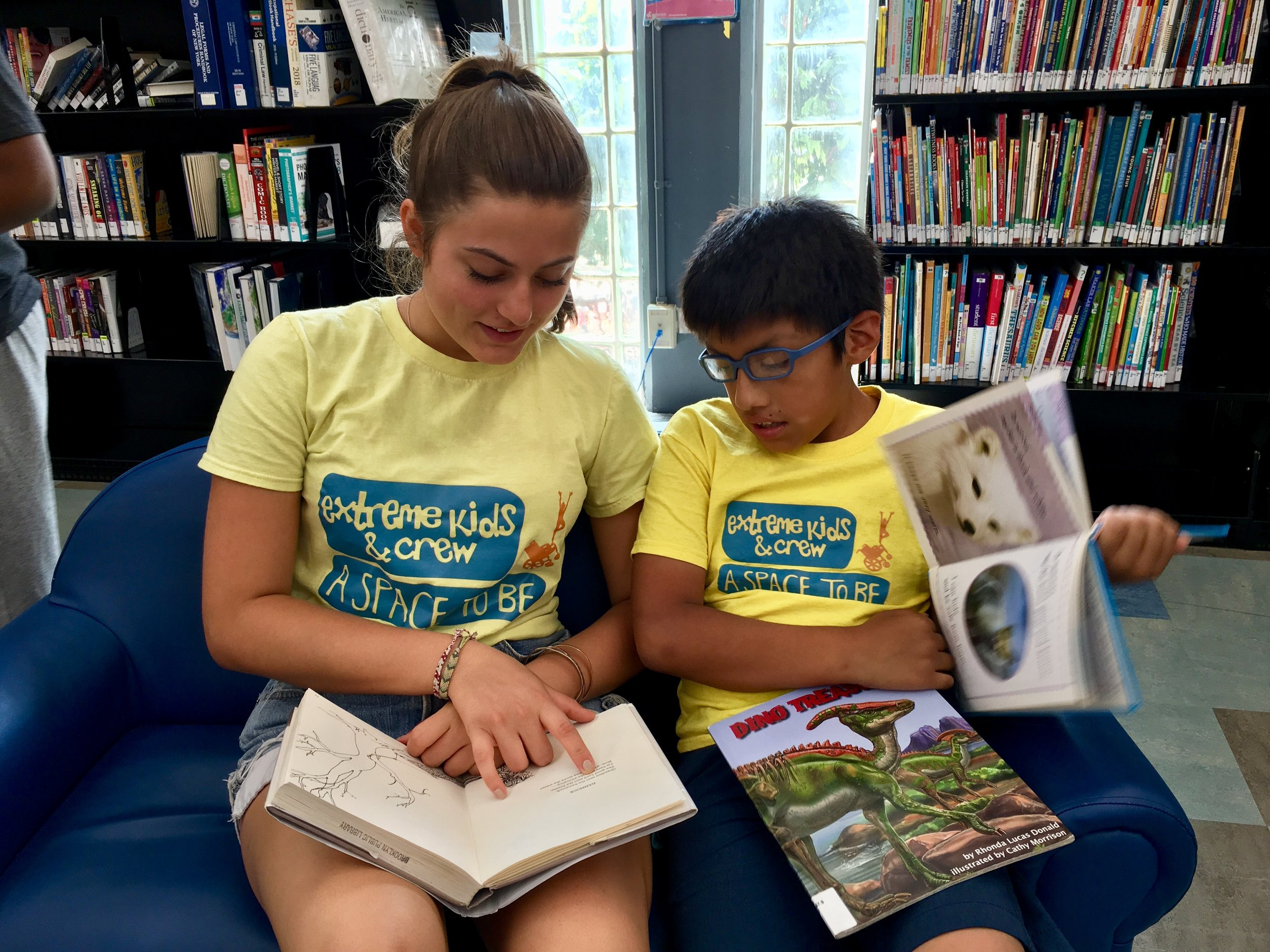 Reading together at the library.