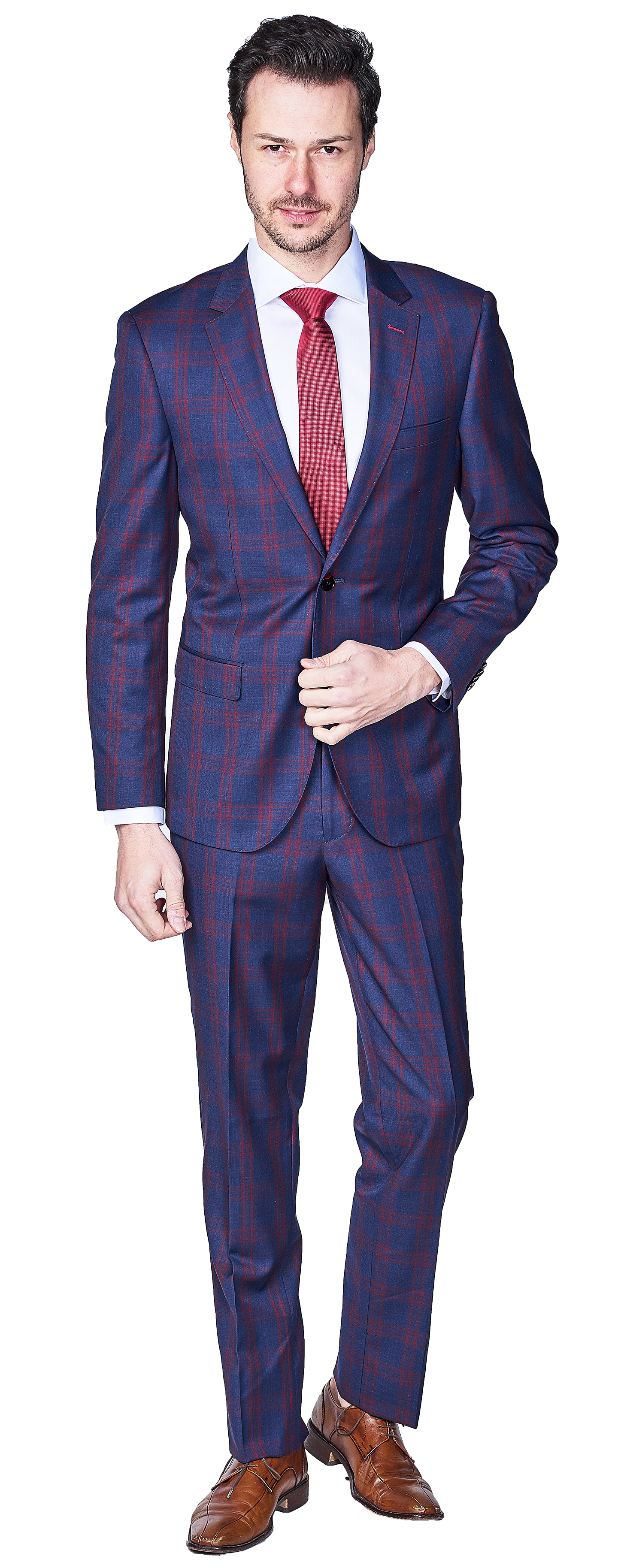 Giovanni Bresciani Navy red check SuitGB-265$850.00 USD.png
