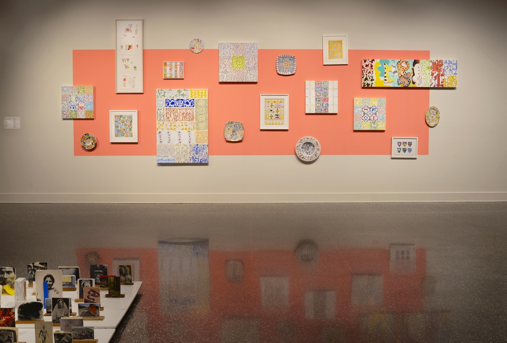 Blazon: 18 components and 18 feet,  salon style installation in  Worlds of Wonder, curator Ian Berry, Dorsky Museum, 2014, see left, center and right closeups