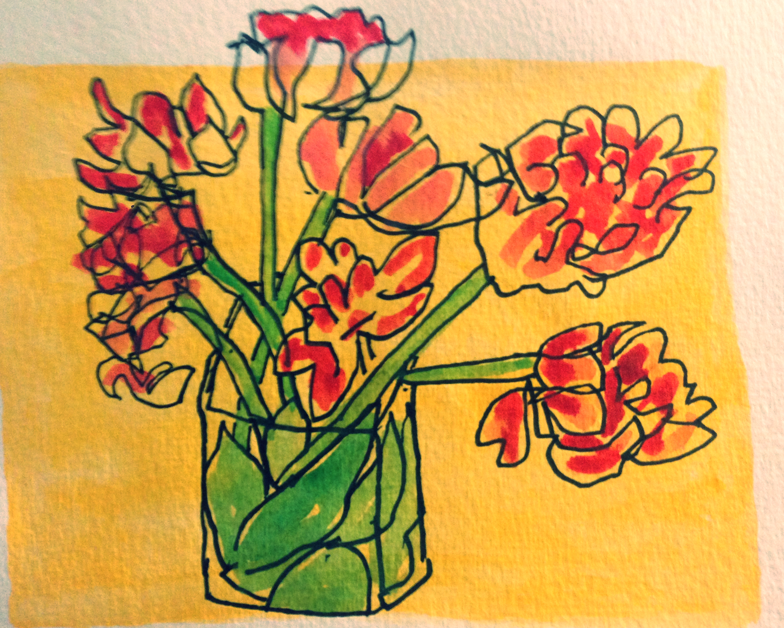 blind contour drawing of thanksgiving flowers
