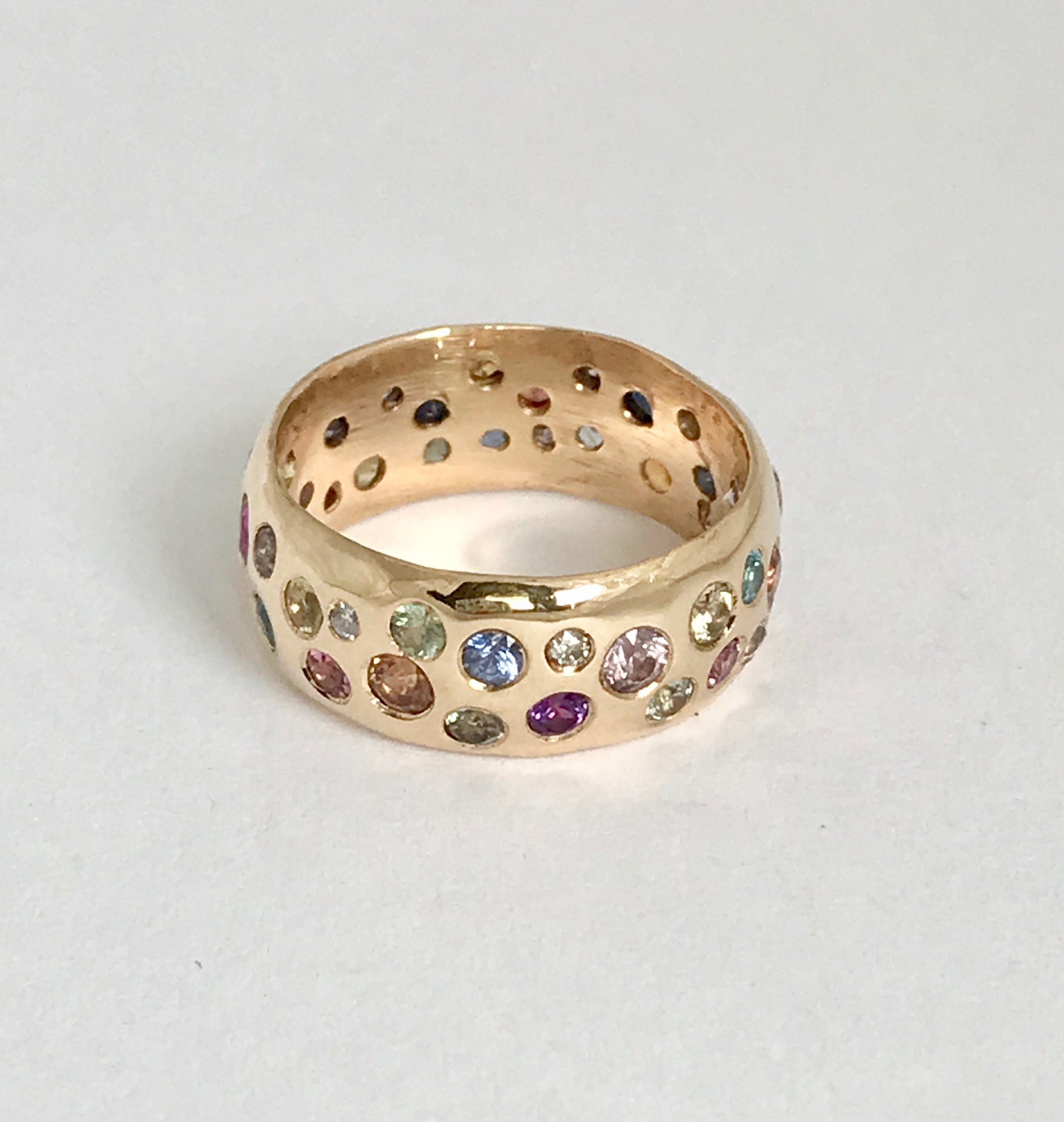 Custom Order for private client. Hand carved 14k gold ring with 43 sapphires and diamonds.