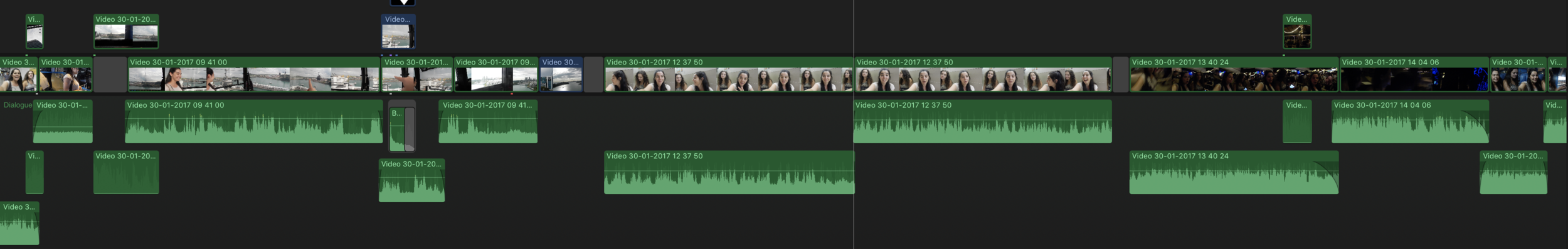 Timeline zoomed out, few thumbnails on clip