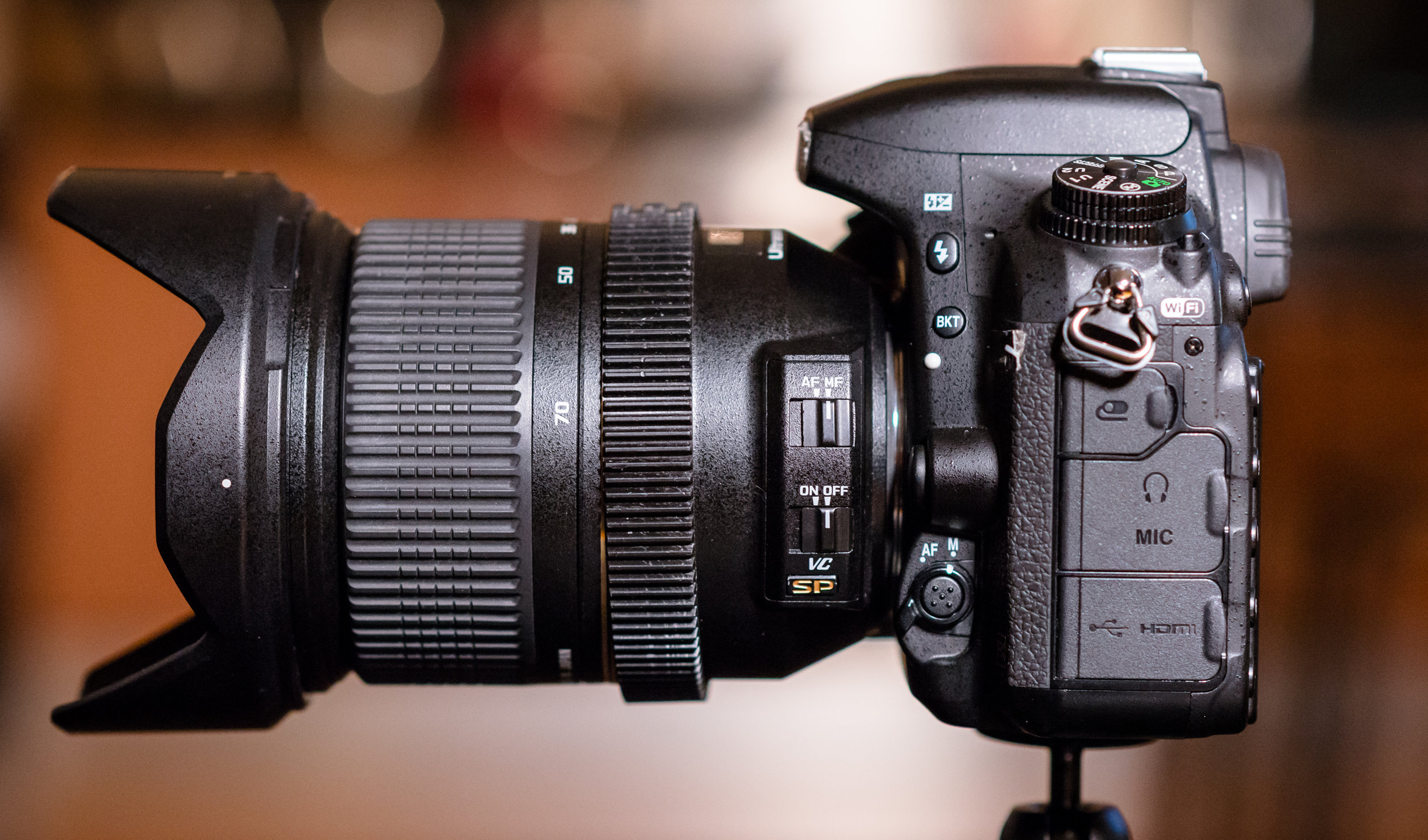The Nikon D750 and the Tamron 24-70 2.8; both with auto-focus turned off, and the lens's stabilisation also turned off