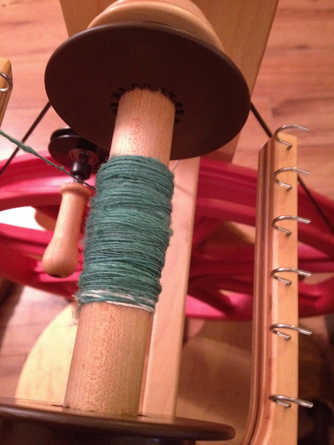I already have it started on the wheel, I really do love spinning from batts.