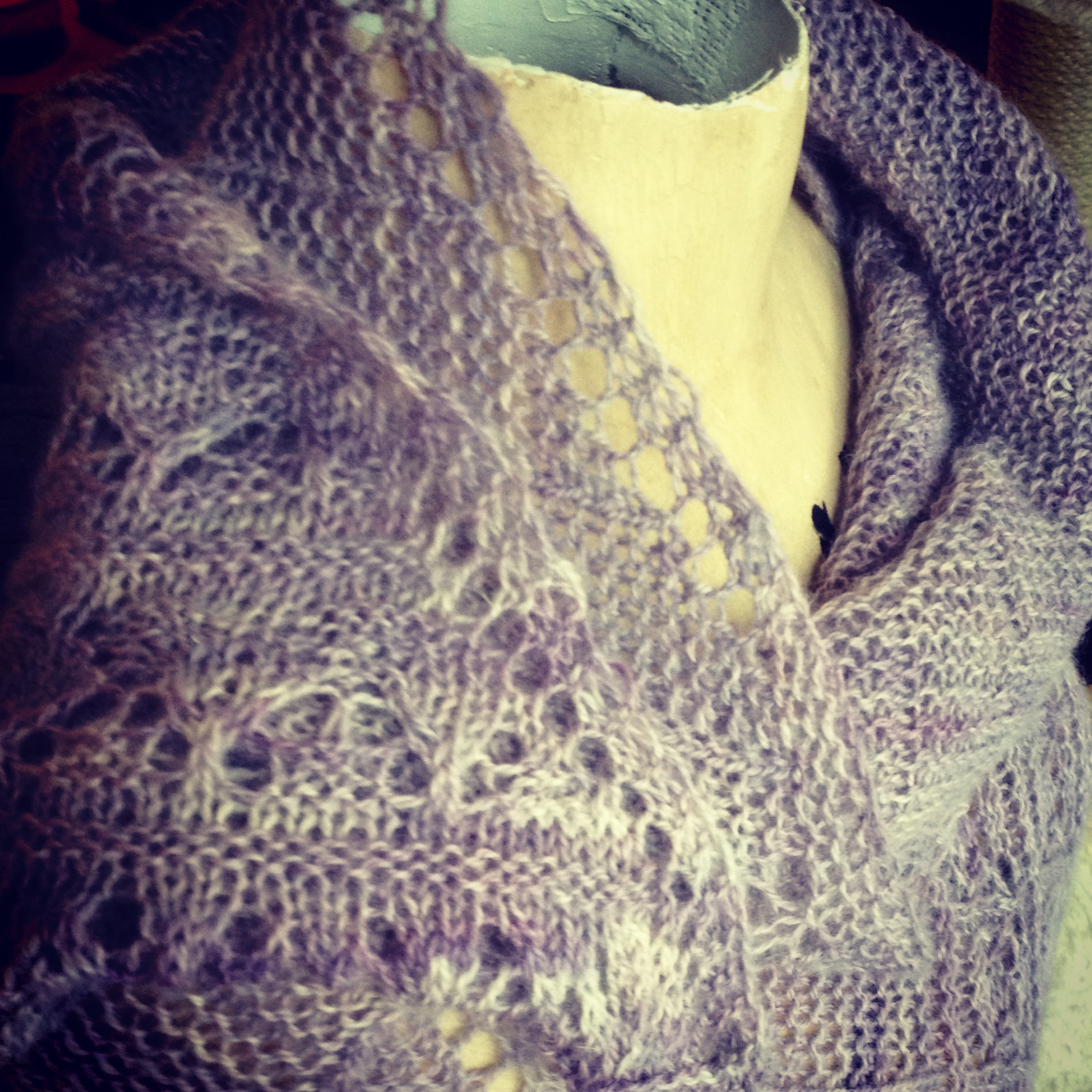 Lumen Shawl by Sivia Harding in Hennessy Fingering, Aster.
