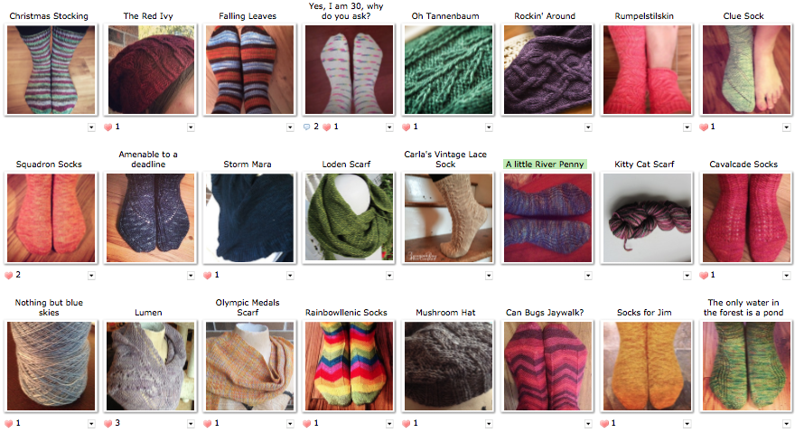 A screenshot of this years projects from Ravelry