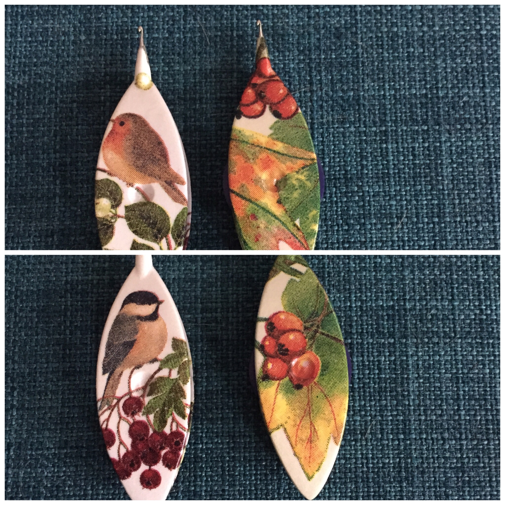 "My second set of shuttles, Aero-type that have been ""improved"" by an Etsy Seller (LaCossette) both sides have different designs, so it is easy to remember which side is ""up"" when wrapping to do the first half of the stitch."