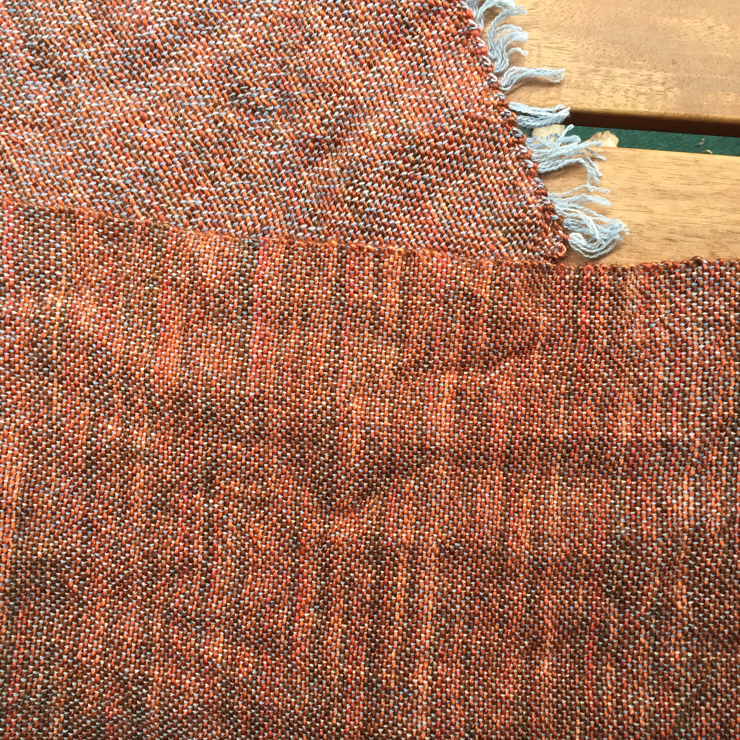 One end of my scarf is weft facing fabric and the other end is warp facing.  This kids is why you don't leave your warp under tension!