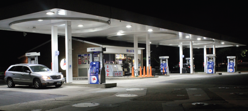Gas stations with LED lighting are inviting.