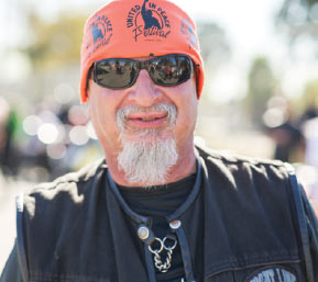 """- """"I love all the bikers just joined in together. Black, white, yellow, green, purple….We're coming together for one purpose and that's to tell everyone that we've got to stop that madness out there.""""—BOBALU"""