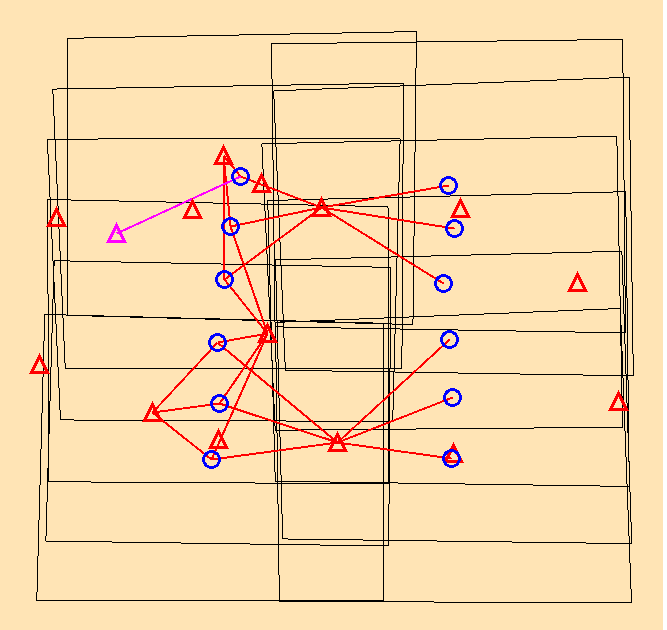 Control Points can be selected by clicking on a red triangle, then measured on the images displayed.