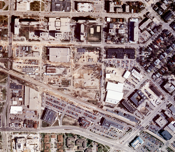 An existing orthophoto depicting a construction site.