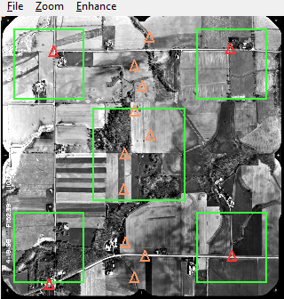 Historical Image  , red triangles are control points, orange triangles are pass points.