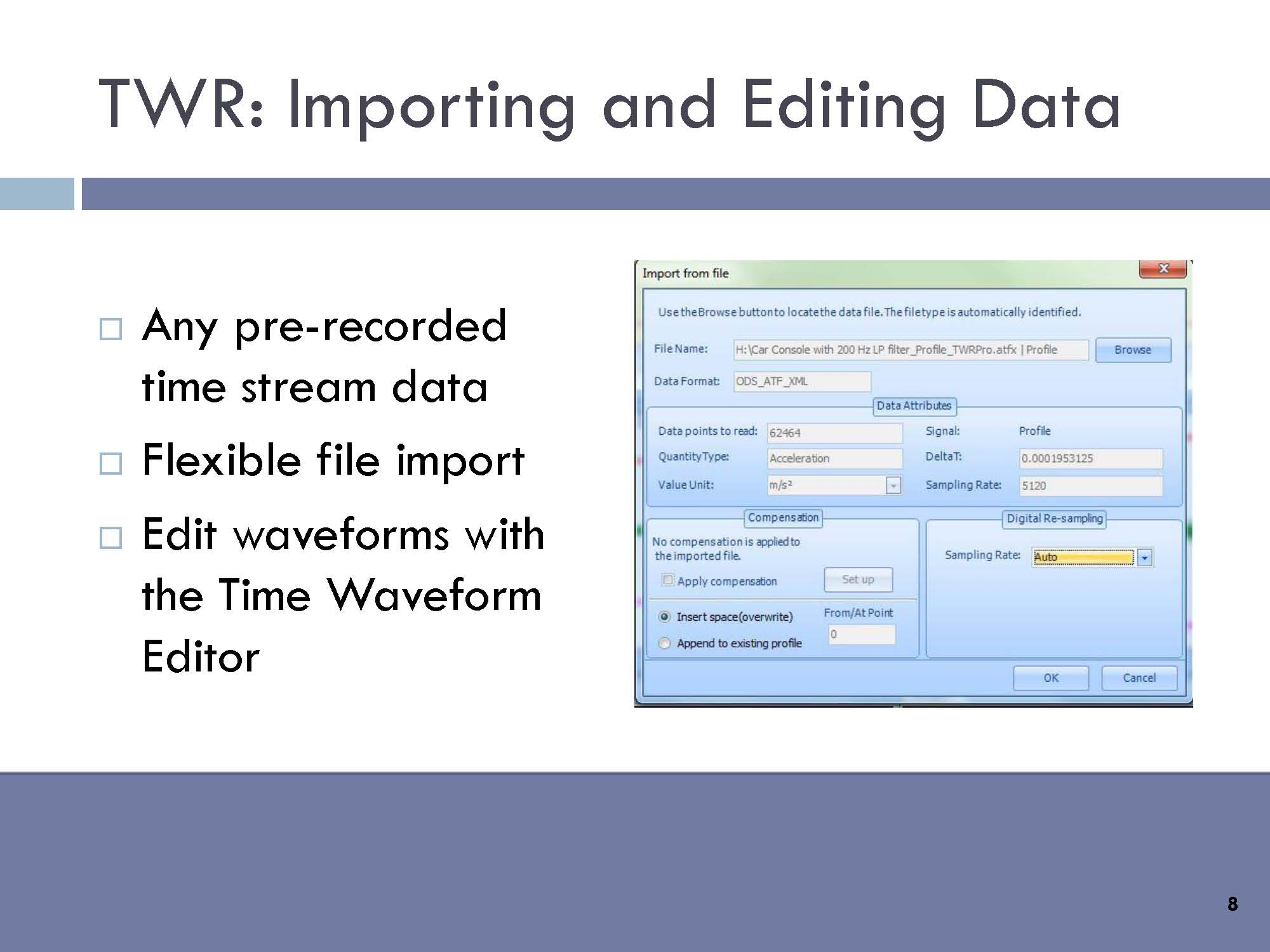 TWR - Importing and editing data: Any pre-recorded time stream data, flexible file import, and edit waveforms with the Time Waveform Editor.