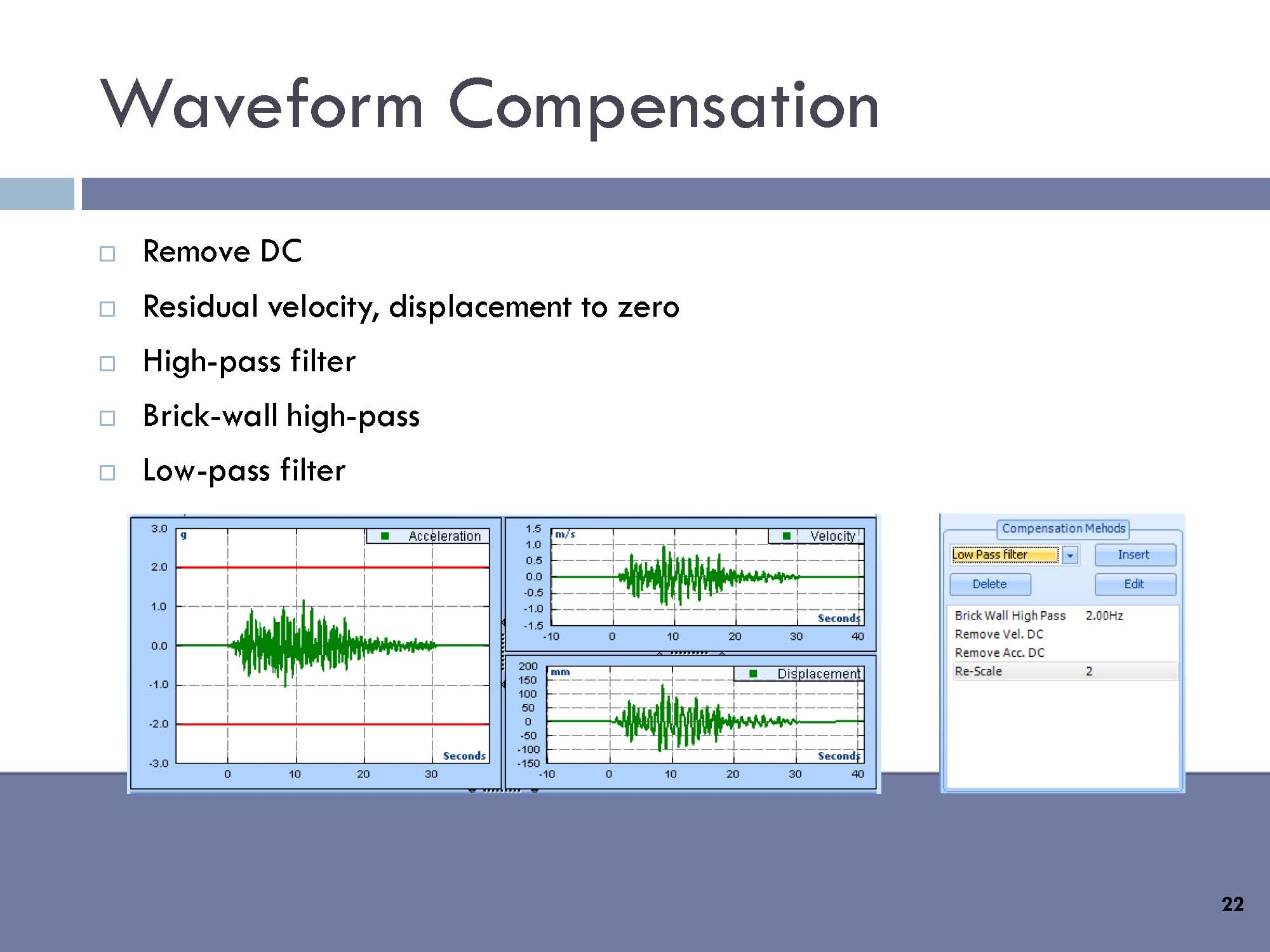 Waveform Compensation: Remove DC, residual velocity, displacement to zero, high-pass filter, brick-wall high-pass, low-pass filter.